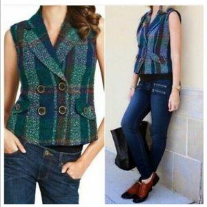 cAbi wool blend plaid button front vest
